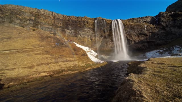 seljalandfoss waterfall idyllic landscape in iceland - seljalandsfoss waterfall stock videos and b-roll footage