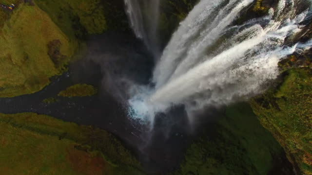 aerial seljalandsfoss waterfall and surrounding landscape - seljalandsfoss waterfall stock videos and b-roll footage