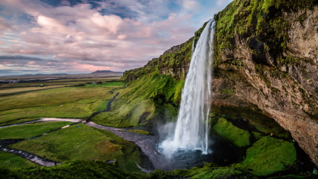 seljalandsfoss waterfall in iceland - 4k nature/wildlife/weather - seljalandsfoss waterfall stock videos and b-roll footage