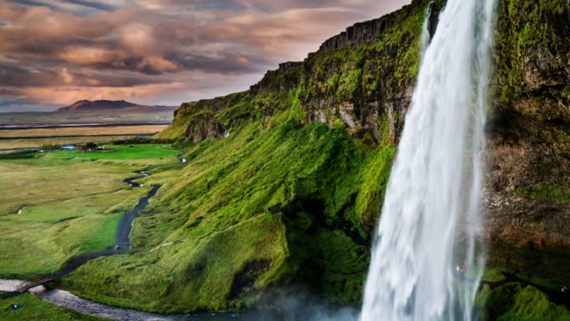 seljalandsfoss waterfall in iceland - seljalandsfoss waterfall stock videos and b-roll footage