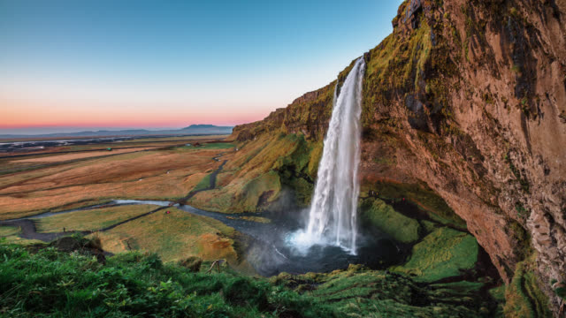 seljalandsfoss waterfall in iceland - natural landmark stock videos & royalty-free footage