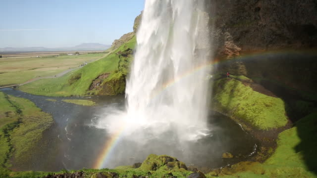 seljalandsfoss waterfall in iceland. - seljalandsfoss waterfall stock videos and b-roll footage