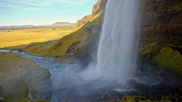 seljalandsfoss waterfall - seljalandsfoss waterfall stock videos and b-roll footage