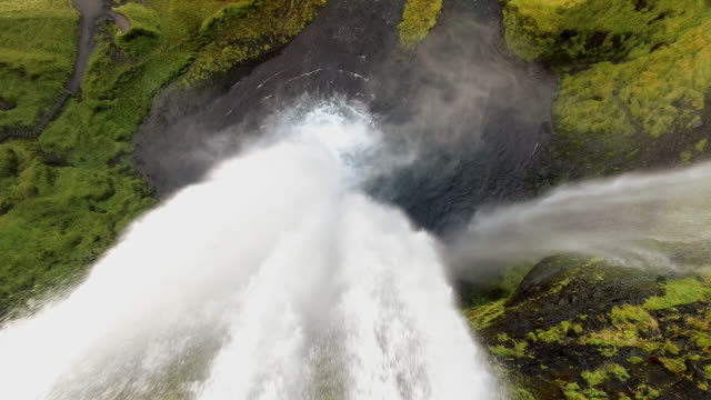 aerial seljalandsfoss waterfall - seljalandsfoss waterfall stock videos and b-roll footage