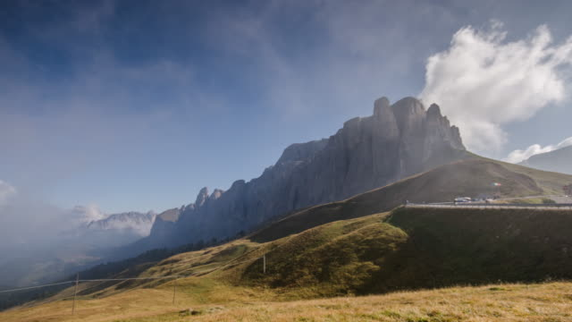 Sella tower on pass sella timelapse of dolomites , south tyrol , Italy