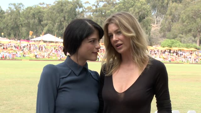 selma blair and ellen pompeo at the third annual veuve clicquot polo classic - los angeles at will rogers state historic park on 10/6/12 in los... - 出来事の発生点の映像素材/bロール