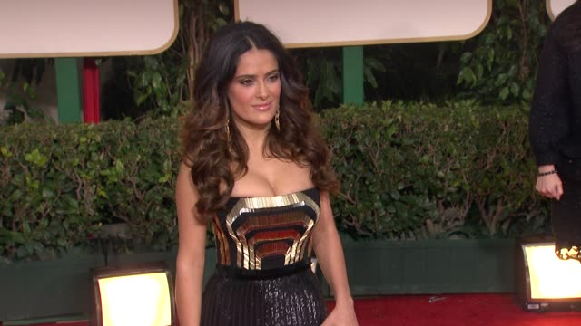 selma hayek at 69th annual golden globe awards - arrivals on january 15, 2012 in beverly hills, california - salma hayek stock videos & royalty-free footage
