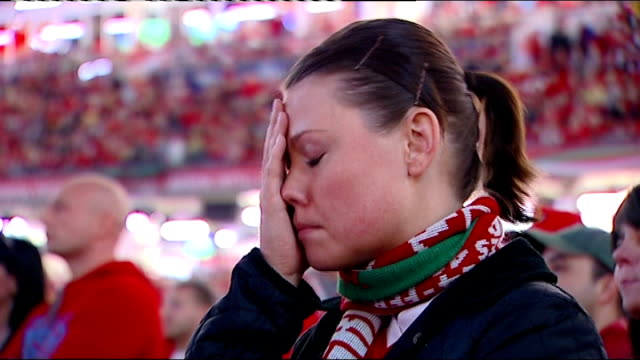 semi finals france vs wales wales cardiff close shots of welsh fans' reactions - semifinal round stock videos & royalty-free footage