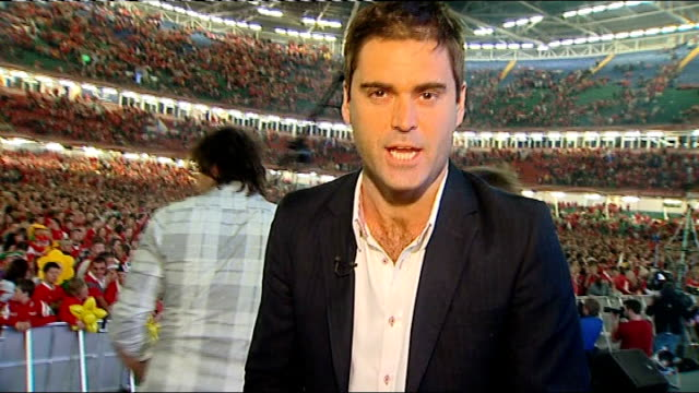 semi finals france vs wales wales cardiff millennium stadium wales fans going crazy as halfpenny misses penalty reporter to camera int vox pops - semifinal round stock videos & royalty-free footage