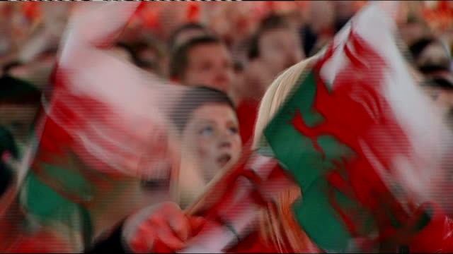semi finals france vs wales wales cardiff welsh fans celebrating - semifinal round stock videos & royalty-free footage
