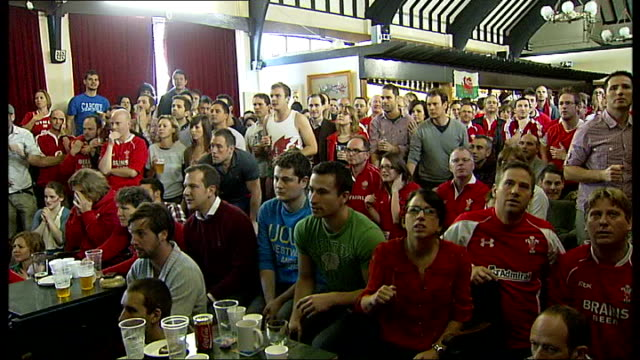 semi finals france vs wales welsh rugby fans watching match fans expressing disappointment at narrowly missed chance / fans standing shouting sot /... - missed chance stock videos & royalty-free footage
