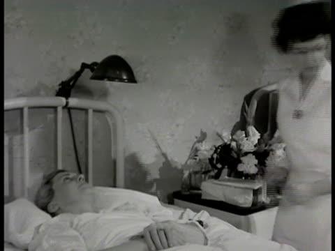 semi private 416 room sign nurse in semiprivate room doctor surgeon come into room talk w/ 'mrs conrad' she will do fine 'mrs conrad' resting - anno 1948 video stock e b–roll