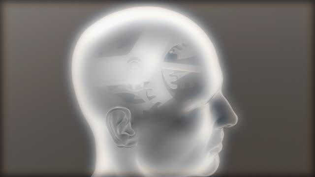 vidéos et rushes de cgi cu semi transparent human model with rotating gears at place of brain / greece - santé mentale