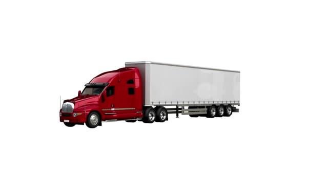 semi-truck spin with luma matte - trasporto merci via terra video stock e b–roll