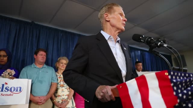 Sen Bill Nelson speaks during a campaign rally at the International Union of Painters and Allied Trades on August 31 2018 in Orlando Florida Mr...