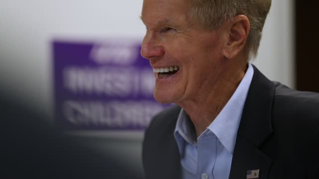 sen bill nelson speaks during a round table meeting with education leaders from south florida including teachers school board members and locally... - miami dade school stock videos and b-roll footage