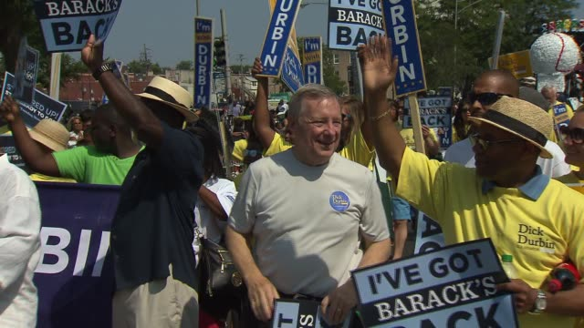 sen dick durbin at the bud billiken parade the nation's oldest and largest africanamerican parade on aug 9 2014 in chicago - dick durbin stock videos & royalty-free footage