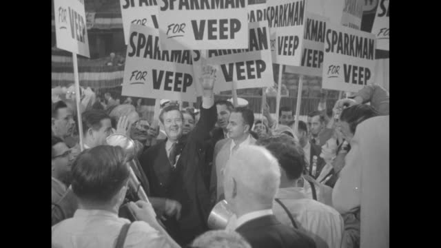 sen john sparkman posing for photo opportunity with his daughter julia ann shepard on his right and his wife ivo on his left / closer view of... - adlai stevenson ii stock videos and b-roll footage