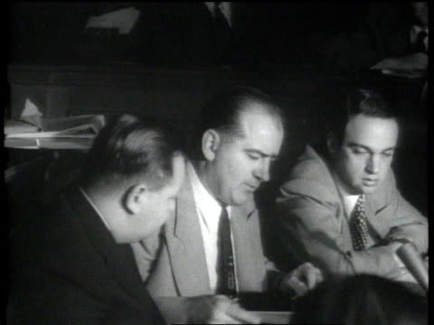 sen joseph mcarthy questioning a witness in the hauc's investigation of julius and ethel rosenberg / washington dc united states - joseph raymond mccarthy video stock e b–roll