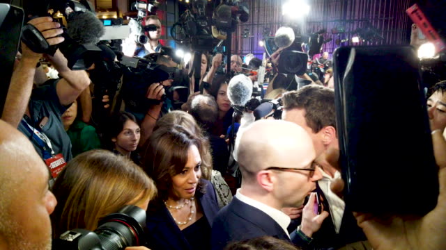 sen kamala harris speaks to the media in the spin room before the second night of the first democratic presidential debate june 27 2019 in miami... - democracy stock videos & royalty-free footage