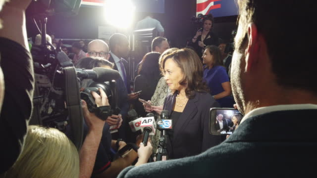 sen kamala harris speaks to the media in the spin room before the second night of the first democratic presidential debate june 27 2019 in miami... - debate stock videos & royalty-free footage