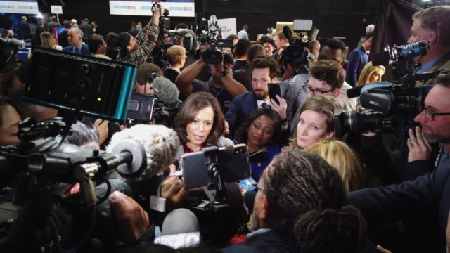 sen. kamala harris with the media after the democratic presidential debate at tyler perry studios november 20, 2019 in atlanta, georgia. ten... - msnbc stock videos & royalty-free footage