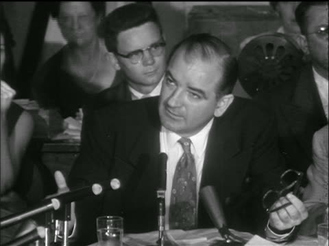 sen. mccarthy addresses sen. symington + others / army-mccarthy hearings - 1953 stock videos & royalty-free footage