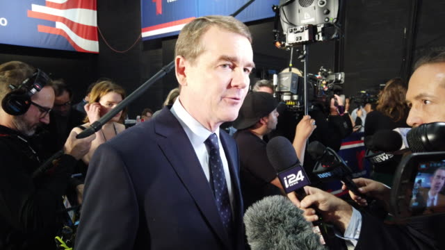 sen michael bennet speaks to the media in the spin room before the second night of the first democratic presidential debate june 27 2019 in miami... - candidate stock videos & royalty-free footage