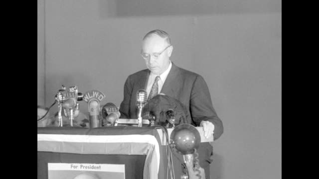sot sen robert taft at memorial hall notes need for a republican congress decries corruption and communist influences at the state department says... - new deal stock-videos und b-roll-filmmaterial