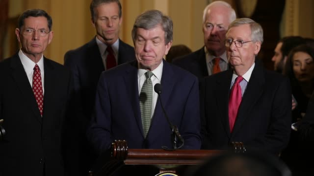 Sen Roy Blunt and Sen Cory Gardner talk to reporters follow the Republican Senate weekly policy luncheon with John Thune Sen John Cornyn Sen John...