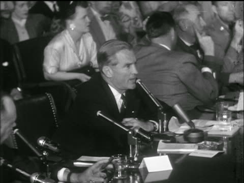 sen. stuart symington addresses sen. mccarthy + others / army-mccarthy hearings - 1953 stock videos & royalty-free footage