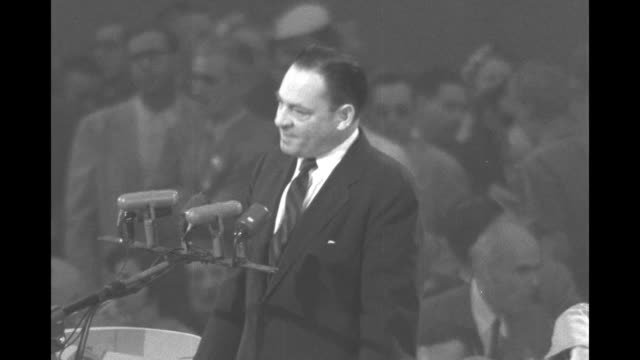 sen thomas hennings jr speaks from podium at the democratic national convention at the international amphitheatre praising vp alben barkley / pan... - alben w. barkley stock videos and b-roll footage