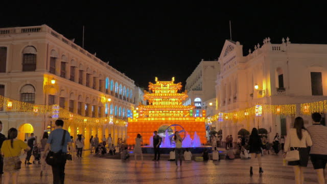 senado square, macau, china - leal senado square stock videos and b-roll footage
