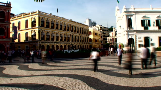 senado square - macau - leal senado square stock videos and b-roll footage