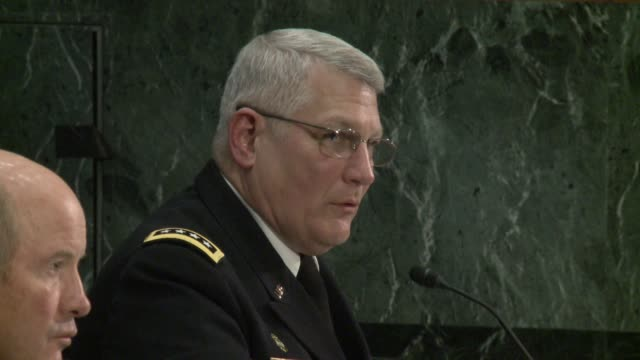 vídeos de stock, filmes e b-roll de us senate armed services hearing on the pentagon's africa command africom includes questions about regime change in libya and piracy africa command... - crachá