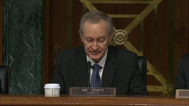 senate banking committee chairman mike crapo of idaho tells federal reserve chairman jerome powell at a semiannual hearing that facebook was to... - customer stock videos & royalty-free footage
