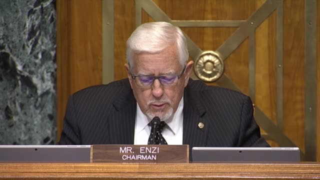 senate budget committee chairman mike enzi of wyoming begins a hearing with cbo director phillip swagel for testimony on the cbo updated budget and... - enacting stock videos & royalty-free footage