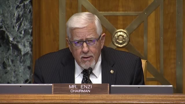senate budget committee chairman mike enzi of wyoming says at a hearing with the cbo director that a response to the pandemic and answering lockdowns... - enacting stock videos & royalty-free footage