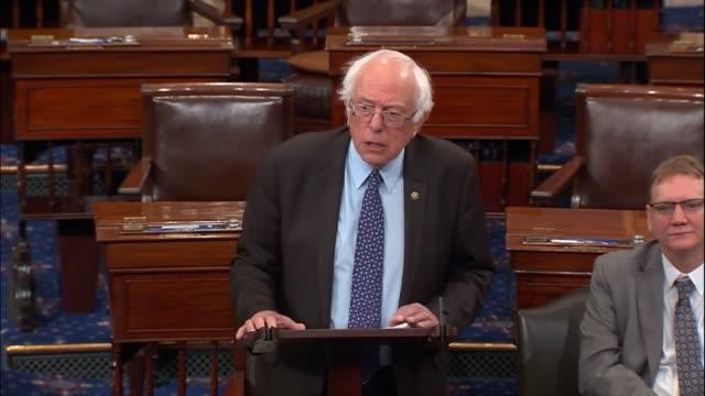 vídeos de stock, filmes e b-roll de senate budget committee ranking senator bernie sanders of vermont says in floor remarks that many believe in the concept of democracy of one person,... - bernie sanders