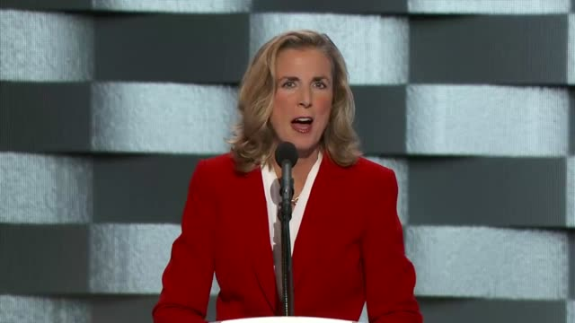 Senate candidate Katie McGinty from Pennsylvania discusses American values at the convention telling delegates that middle class families are not...
