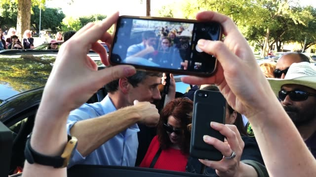S Senate candidate Rep Beto O'Rourke talks with supporters during a campaign rally November 2 2018 in Dallas Texas