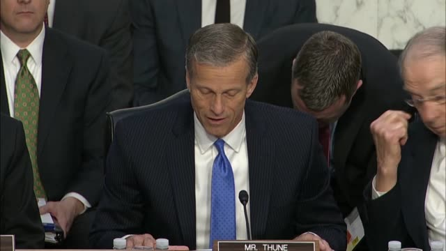 senate commerce committee chairman john thune of south dakota opens a joint hearing on data privacy with facebook ceo mark zuckerberg calling it... - senate stock videos & royalty-free footage