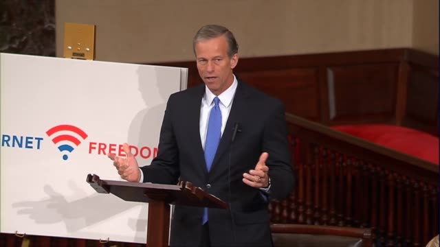 vídeos y material grabado en eventos de stock de senate commerce committee chairman john thune of south dakota rises in support of net neutrality contrary to assertions of those who believe that... - partido republicano norteamericano