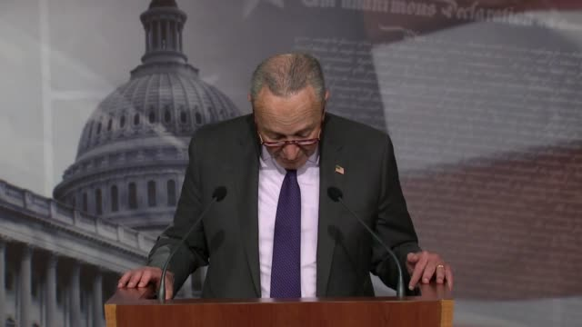 senate democrat leader chuck schumer of new york says at a weekly press conference that all know president donald trump denies covid and climate... - the all american rejects stock videos & royalty-free footage
