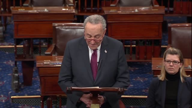 Senate Democrat Leader Chuck Schumer says on day 32 of a partial government shutdown that President Donald Trump realized he was hurting the economy...