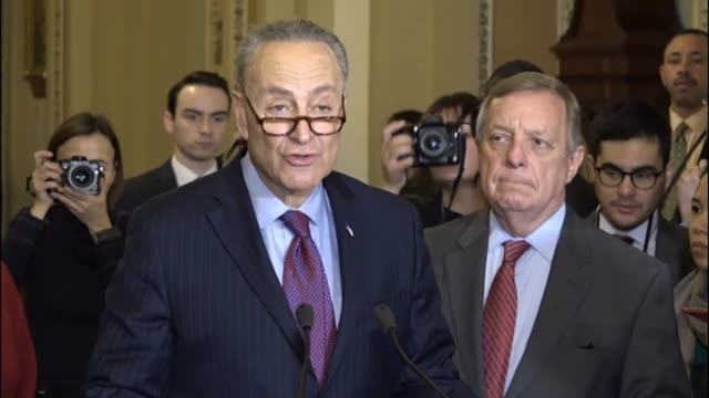 Senate Democratic leader Charles Schumer of New York criticizes the Trump administration as being untruthful incompetent and unAmerican citing...