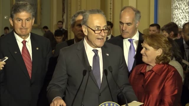 Senate Democratic leader Charles Schumer tells reporters at a regular weekly briefing that he is proud of the current herculean efforts of...