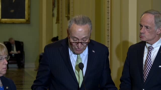 Senate Democratic Leader Charles Schumer tells reporters at a weekly briefing that the cabinet of President Donald Trump was turning into a sad game...