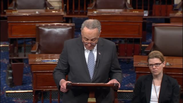 Senate Democratic Leader Chuck Schumer of New York expresses his disdain with an order of President Donald Trump to propagate its own reality rather...
