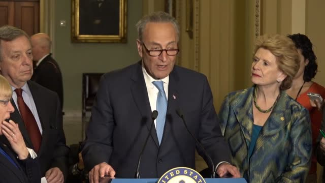 Senate Democratic Leader Chuck Schumer of New York tells reporters at a weekly briefing outside of the chamber hours before the first annual message...